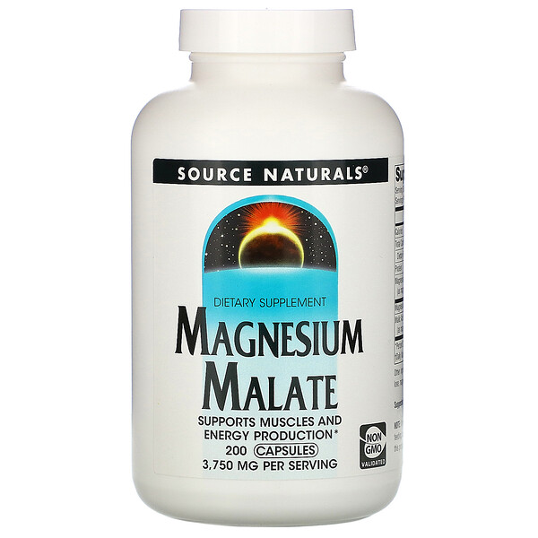 Source Naturals, Яблочнокислый магний, 3750мг, 200капсул
