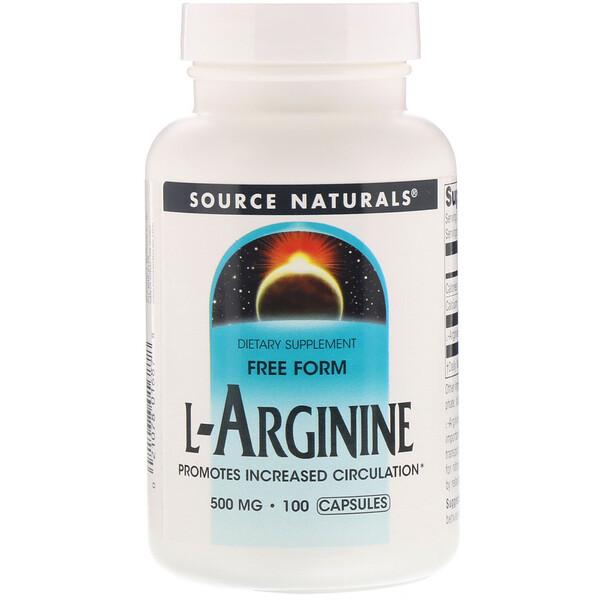 L-аргинин, в свободной форме, 500 мг, 100 капсул