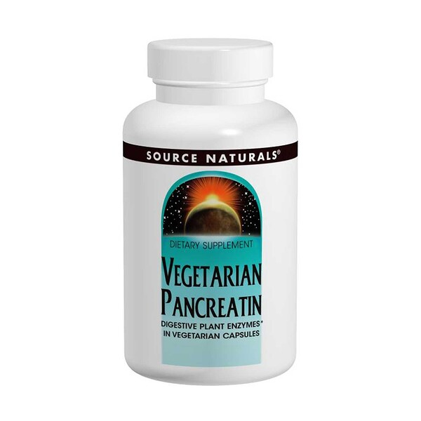 Source Naturals, Вегетарианский панкреатин, 475 мг, 120 капсул