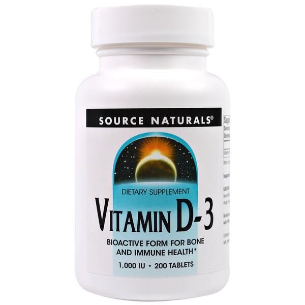 Source Naturals, Витамин D3, 1000 МЕ, 200 таблеток