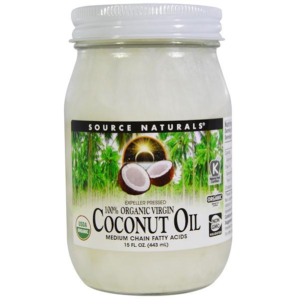 100% органическое кокосовое масло первого отжима, 15 жидких унций (443 мл)