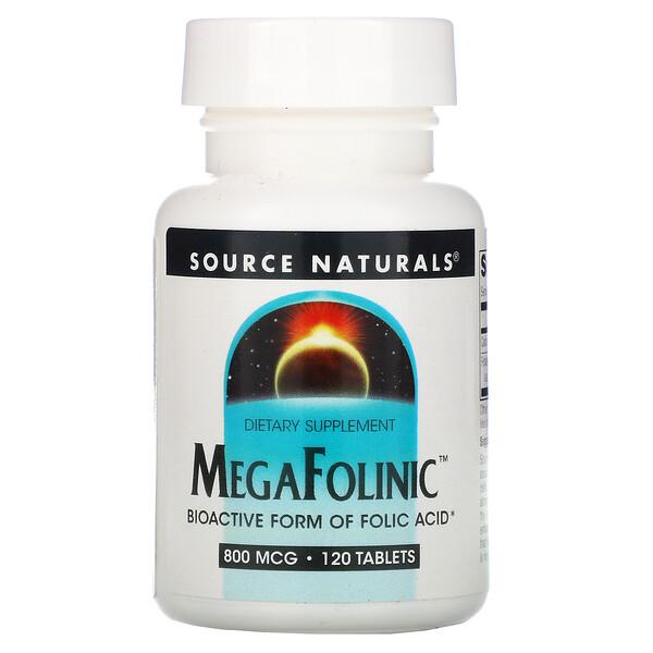 Source Naturals, MegaFolinic, 800 мкг, 120 таблеток