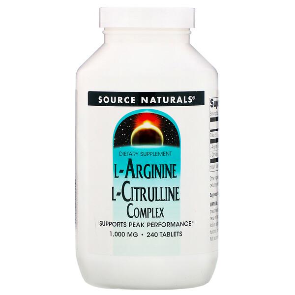 Source Naturals, Комплекс L-аргинина и L-цитруллина, 1000 мг, 240 таблеток