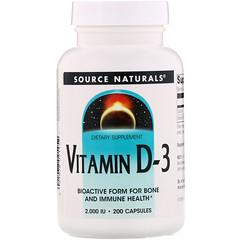 Source Naturals, Витамин D3, 2000 МЕ, 200 мягких таблеток - iHerb