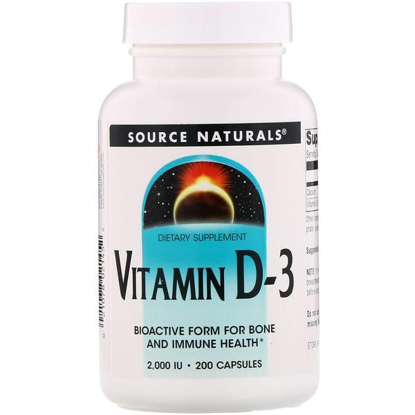 Source Naturals, ВитаминD3, 2000МЕ, 200мягких таблеток