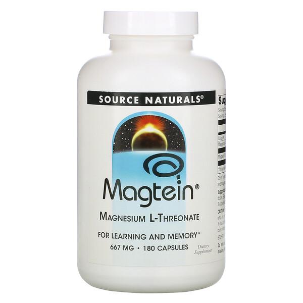 Magtein, магний L-треонат, 667 мг, 180 капсул
