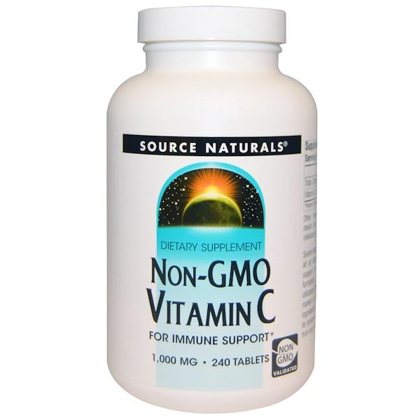 Source Naturals, Витамин С без ГМО, 1,000 мг, 240 таблеток