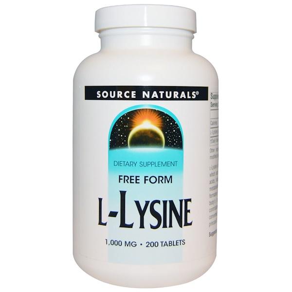 Source Naturals, L-лизин, 1000 мг, 200 таблеток