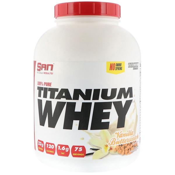 SAN Nutrition, 100% Pure Titanium Whey, Vanilla Butterscotch, 5 lb (2268 g) (Discontinued Item)