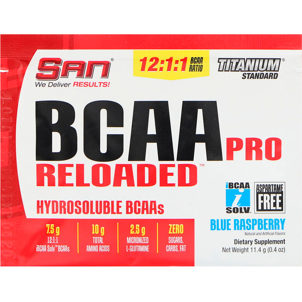 SAN Nutrition, BCAA Pro Reloaded, аминокислоты с разветвленными цепями, голубая малина, 11,4г (0,4унций)