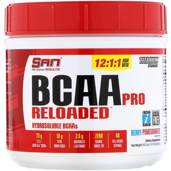 SAN Nutrition, BCAA Pro Reloaded, аминокислоты с разветвленными цепями, ягодно-гранатный вкус, 458,6г (16,2унций) (Discontinued Item)