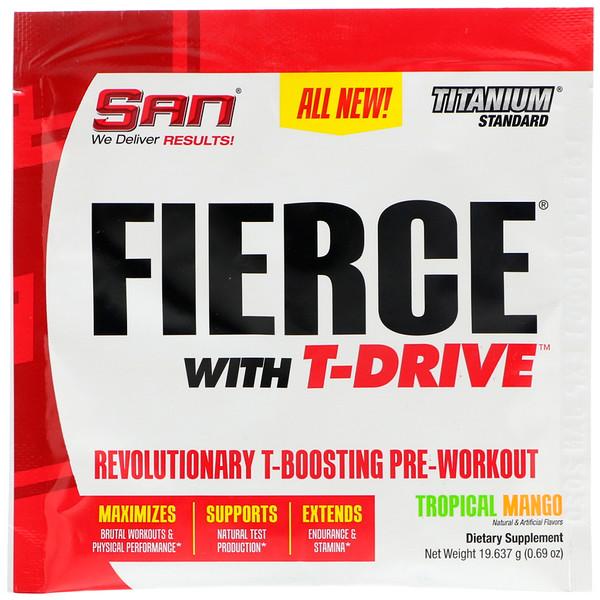 SAN Nutrition, Fierce с T-Drive, революционная предтренировочная формула с T-усилением, тропическое манго, 0,69 унции (19,637 г) (Discontinued Item)