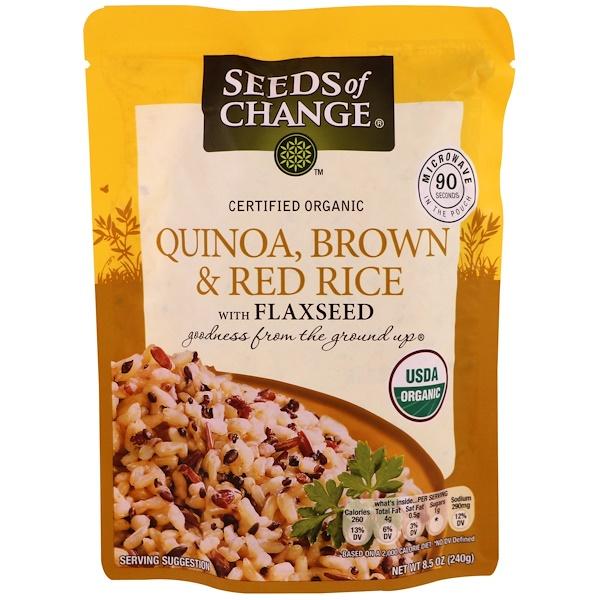 Seeds of Change, Organic, киноа, бурый и красный рис с семенами льна, 8.5 унций (240 г) (Discontinued Item)
