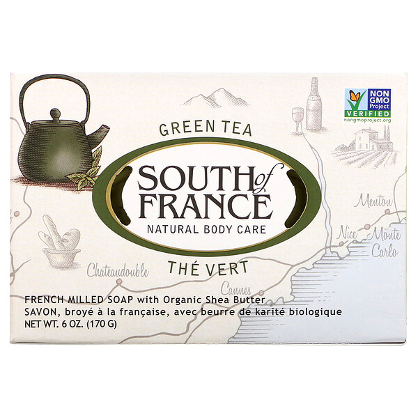Green Tea, French Milled Bar Soap with Organic Shea Butter, 6 oz (170 g)