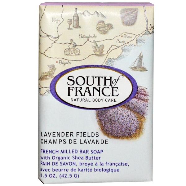 South of France, Лавандовые поля, французское мыло с органическим маслом ши, 1,5 унции (42,5 г) (Discontinued Item)