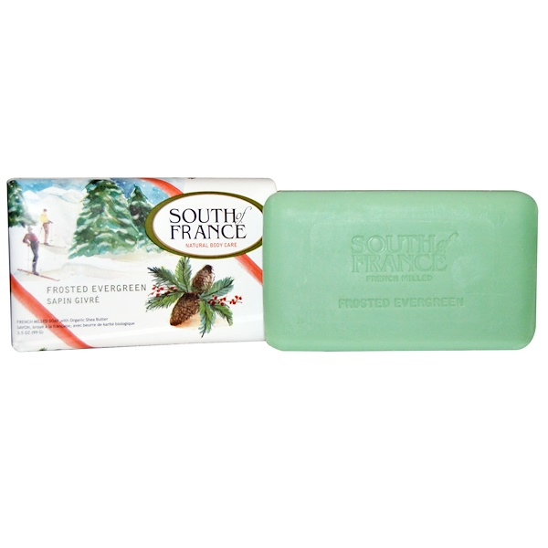 South of France, French Milled Soap, Frosted Evergreen, 3.5 oz (99 g) (Discontinued Item)