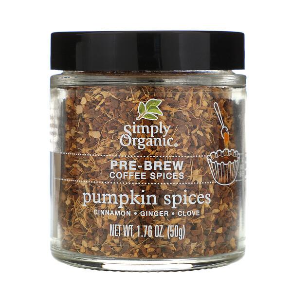 Simply Organic, Специи для заваривания кофе, тыква, 1,76 унции (50 г)