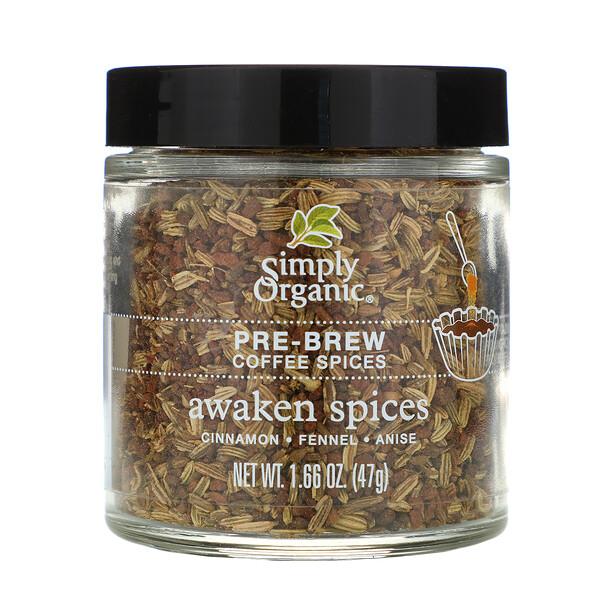 Simply Organic, Специи для варки кофе, пробуждющие специи, 1,66 унций (47 г)