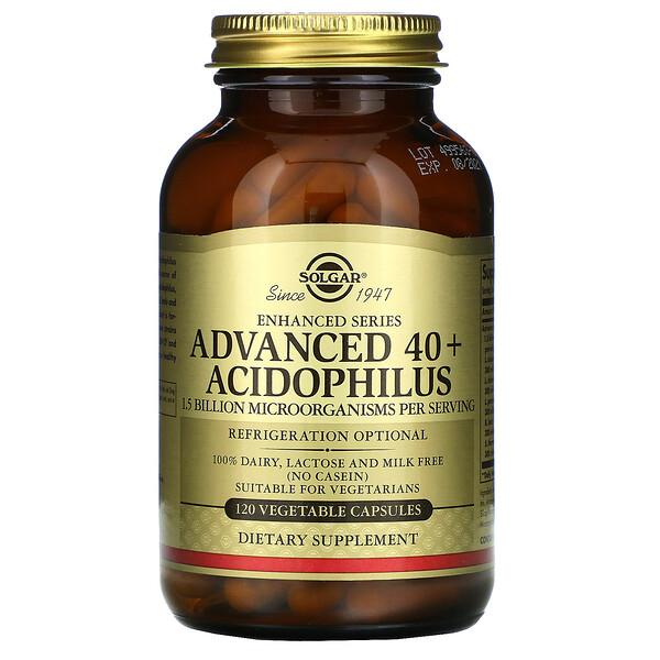 Solgar, Улучшенный ацидофилус 40+, 120 вегетарианских капсул