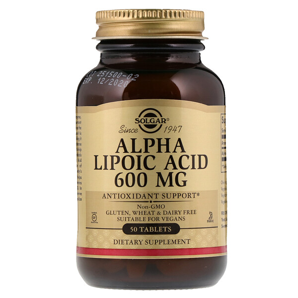 Solgar, Альфа-липоевая кислота, 600 мг, 50 таблеток