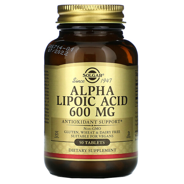 Альфа-липоевая кислота, 600 мг, 50 таблеток