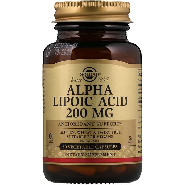 Альфа-липоевая кислота, 200 мг, 50 растительных капсул