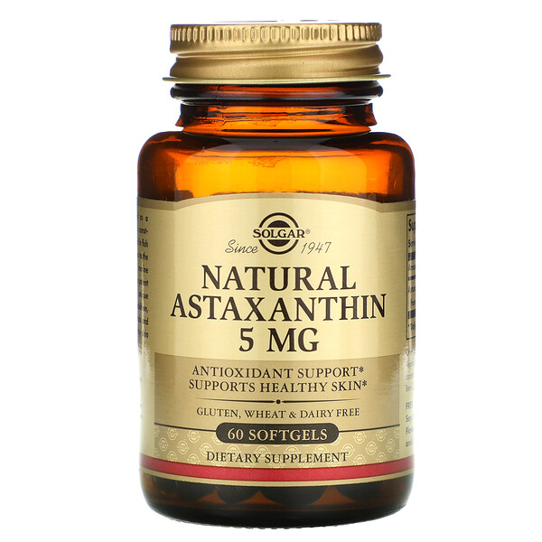 Натуральный астаксантин, 5 мг, 60 мягких желатиновых капсул
