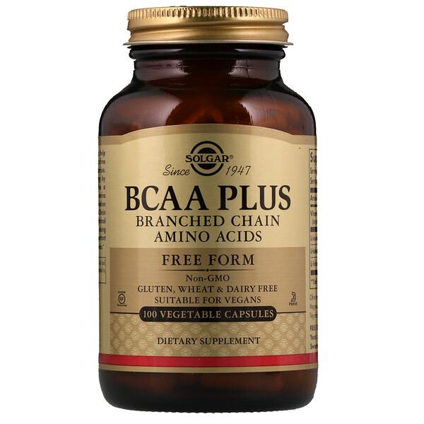 BCAA Plus, в свободной форме, 100 растительных капсул