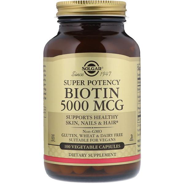 биотин, 5000 мкг, 100 растительных капсул