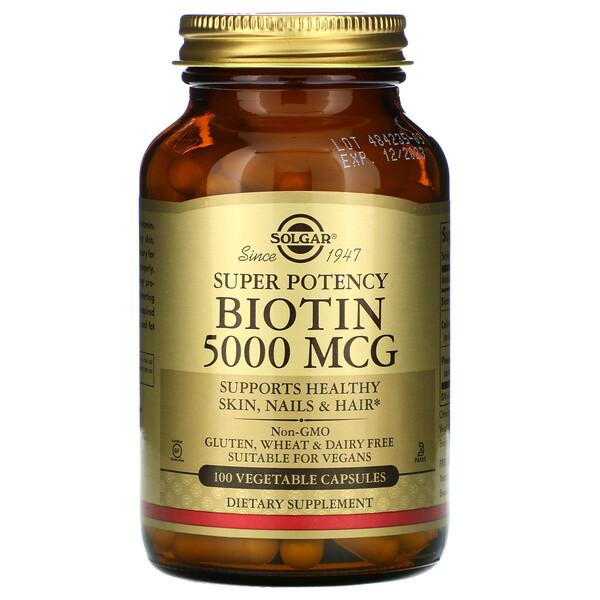 Solgar, биотин, 5000мкг, 100растительных капсул