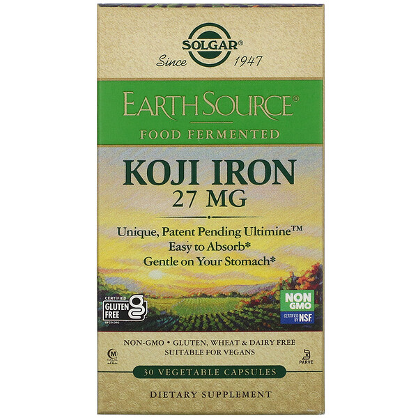 EarthSource Food Fermented, Koji Iron, 27 mg, 30 Vegetable Capsules