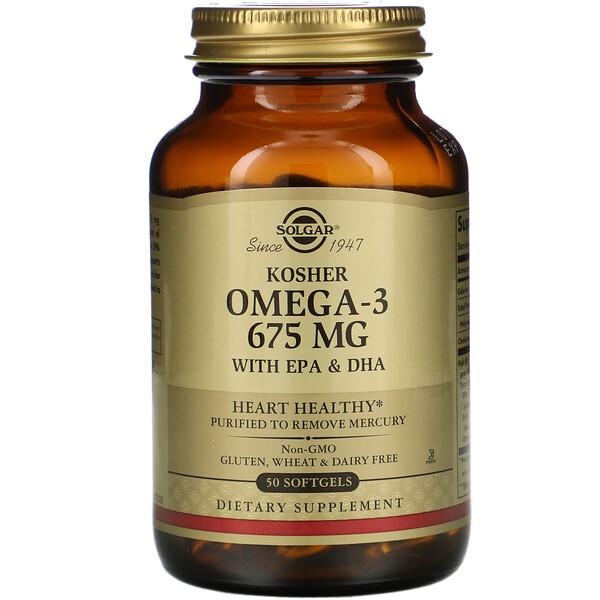 Kosher Omega-3, 675 mg, 50 Softgels