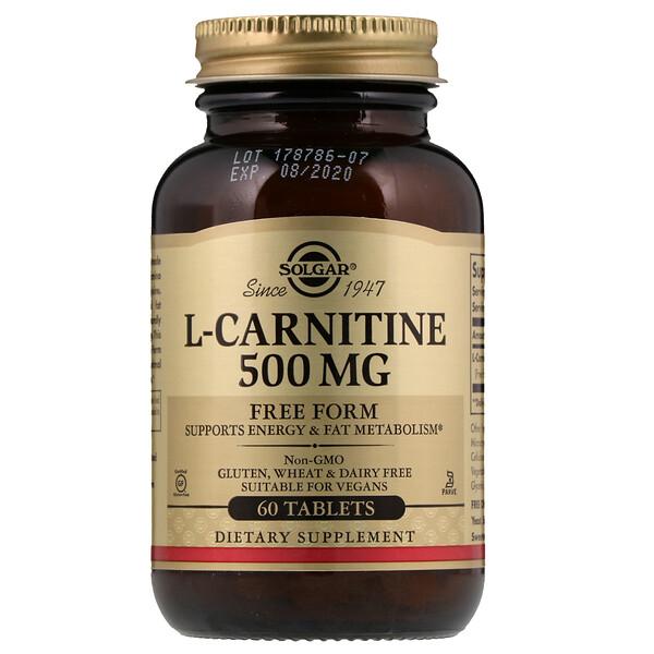 Solgar, L-карнитин, в свободной форме, 500 мг, 60 растительных капсул