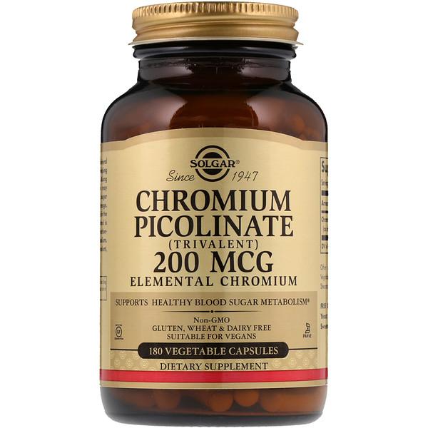 Пиколинат хрома, 200 мкг, 180 растительных капсул