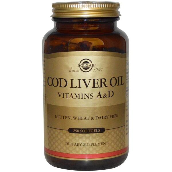 Solgar, Жир печени трески, витамины A и D, 250 мягких желатиновых капсул