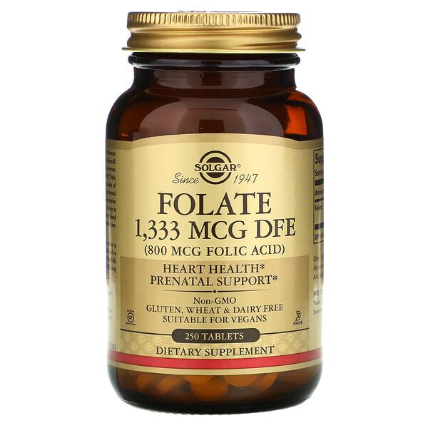 Solgar, фолиевая кислота, 1333мкг фолиевого эквивалента, 250таблеток