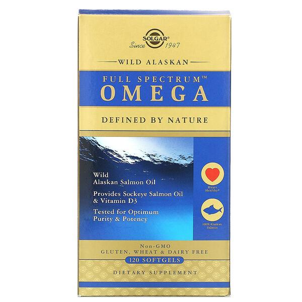 омега-кислоты Full Spectrum, жир дикого аляскинского лосося, 120капсул