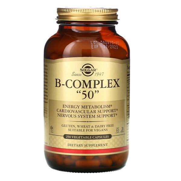 """Solgar, Комплекс витаминов В """"50"""", 250 растительных капсул"""