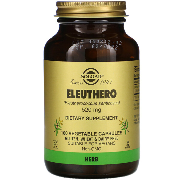Solgar, Женьшень, 520 мг, 100 растительных капсул