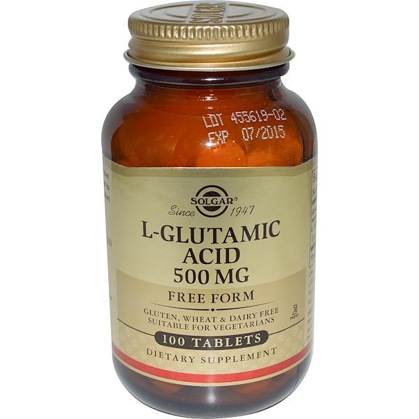 Solgar, L-Glutamic Acid, 500mg, 100 Tablets (Discontinued Item)