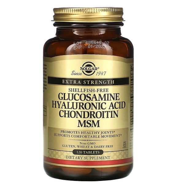 Solgar, глюкозамин, гиалуроновая кислота, хондроитин и МСМ, 120таблеток