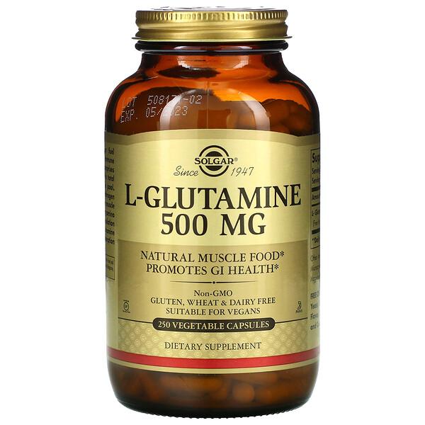 L-глутамин, 500 мг, 250 растительных капсул