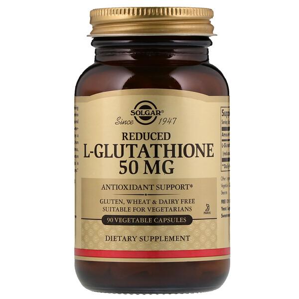 Solgar, восстановленный L-глутатион, 50 мг, 90 растительных капсул