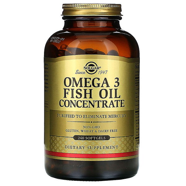 Solgar, Омега-3 рыбий жир, концентрат, 240капсул