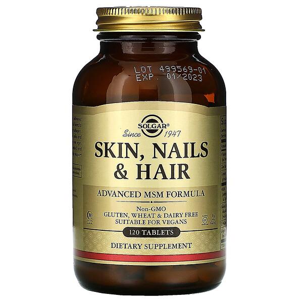 Solgar, Кожа, ногти и волосы, улучшенная формула с МСМ, 120таблеток