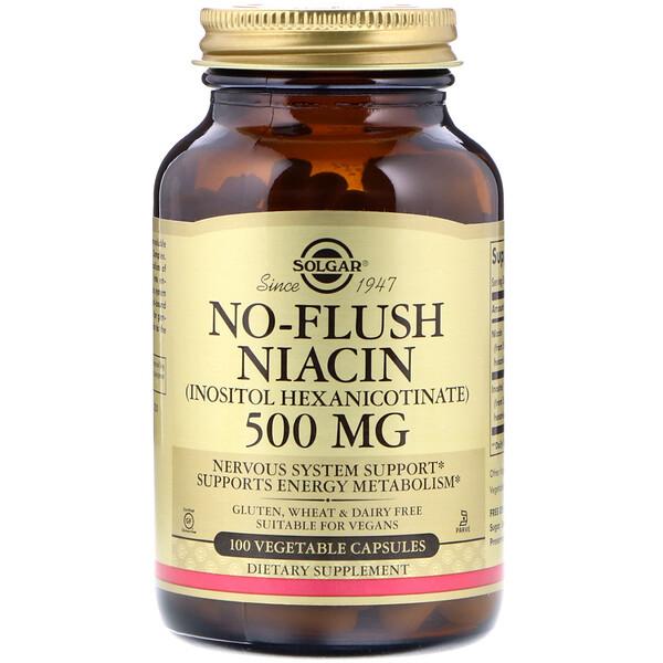 Ниацин, не вызывающий покраснений, 500мг, 100растительных капсул