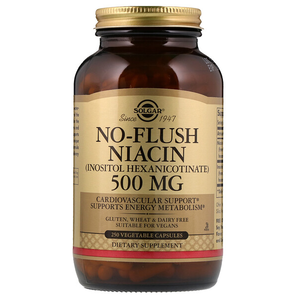 No-Flush Niacin, 500 mg, 250 Vegetable Capsules