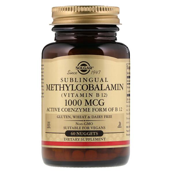 Сублингвальный метилкобаламин (витамин B12), 1000 мкг, 60 капсул