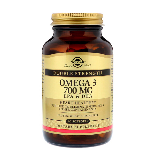 Solgar, Омега-3, 700 мг, ЭПК и ДГК, 60 мягких таблеток