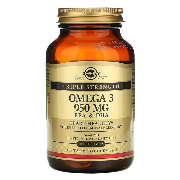 омега-3, ЭПК и ДГК, тройной концентрации, 950мг, 50капсул
